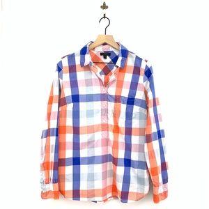 J.Crew Oversized Plaid Popover Shirt Size 12